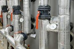 Equipamento do quarto de caldeira do gás fotografia de stock
