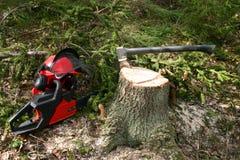Equipamento do registador na floresta Imagem de Stock Royalty Free