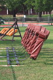 Equipamento do trenó do futebol no campo Fotos de Stock
