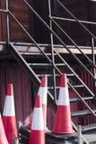 Equipamento dos postes de amarração dos cones do tráfego Fotos de Stock