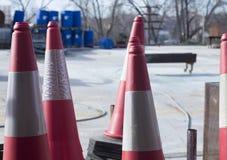 Equipamento dos postes de amarração dos cones do tráfego Foto de Stock Royalty Free