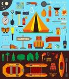 Equipamento e ferramentas de acampamento Fotografia de Stock