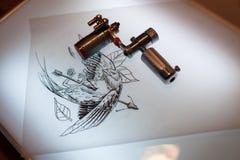 Equipamento e scetch da tatuagem Imagens de Stock Royalty Free