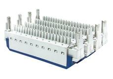 Equipamento elétrico que protege   resultar de uma descarga de relâmpago isolada no branco Imagem de Stock Royalty Free