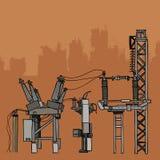 Equipamento fabril e redes bondes do metal Imagem de Stock Royalty Free