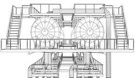 equipamento industrial do petróleo e gás do Fio-quadro ilustração stock