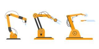 Equipamento industrial em robôs do braço do formulário, equipamento robótico, máquinas da fábrica ilustração stock