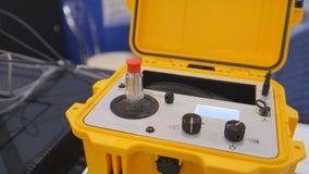 Equipamento industrial na exposição da tecnologia - o portable à prova de explosões da calibração do abanador Imagem de Stock