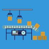Equipamento industrial para caixas de empacotamento, transporte maquinaria da canalização Imagens de Stock