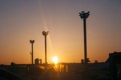 Equipamento leve para o voo do amanhecer no avental Foto de Stock