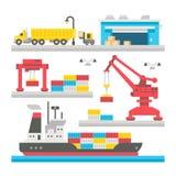Equipamento liso do porto da carga do projeto Fotografia de Stock