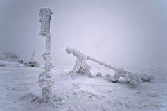 Equipamento meteorológico após a tempestade de neve Fotografia de Stock