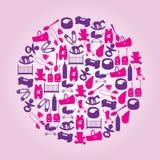 Equipamento para ícones do bebê no círculo Foto de Stock