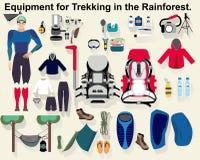Equipamento para Trekking na floresta úmida Imagens de Stock