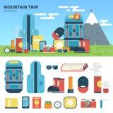 Equipamento para a viagem da montanha Fotos de Stock Royalty Free
