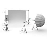 Equipamento profissional do estúdio Fotografia de Stock Royalty Free