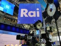 Equipamento t?cnico do radiodifusor nacional italiano RAI da televis?o no grupo imagens de stock royalty free