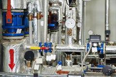 Equipamentos da sala de caldeira do sistema de aquecimento de gás imagens de stock