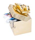 Equipamentos de pesca do presente na caixa quadrada da cor do ouro com curva Foto de Stock