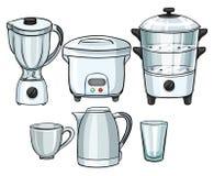 Equipamentos eletrônicos usando-se na cozinha ilustração royalty free