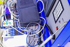 Equipamiento médico azul portátil para ECG con el monitor Imagenes de archivo