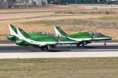 Equipe Aerobatic da exposição da força aérea do saudita Fotografia de Stock Royalty Free