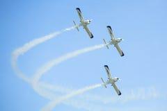 Equipe Aerobatic durante a exposição internacional ILA-2014 da aviação e do espaço Imagens de Stock Royalty Free