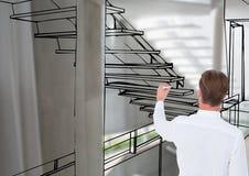 Equipe as linhas da escada do escritório de desenho onde ele que vai ser Foto de Stock
