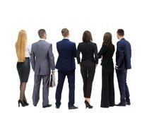 Equipe bem sucedida do negócio que olha o verso ereto ascendente foto de stock