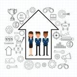 Equipe bem sucedida do negócio com seta do crescimento e ícones ajustados Conceito dos trabalhos de equipa Estilo liso do projeto Imagem de Stock Royalty Free