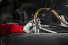 Equipe controles o painel de controle da instalação pneumática, hidráulica imagens de stock royalty free