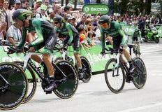 Equipe crédit Agricole环法自行车赛2015年 免版税库存图片
