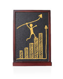 Equipe crescimento running da seta do lucro acima com tendência estatística do gráfico Imagens de Stock