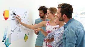 Equipe criativa que tem uma instrução video estoque