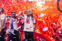 Equipe croata que vem em casa após FIFA final 2018 Fotografia de Stock