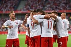 Equipe da alegria do Polônia após ter marcado o objetivo fotos de stock