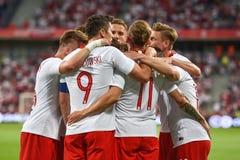 Equipe da alegria do Polônia após ter marcado o objetivo imagens de stock royalty free