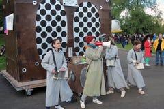 Equipe da animação no festival de Polytech no parque de Gorky, Moscou Foto de Stock