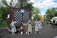 Equipe da animação no festival de Polytech no parque de Gorky, Moscou Fotografia de Stock