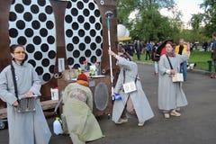 Equipe da animação no festival de Polytech no parque de Gorky, Moscou Imagens de Stock