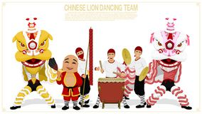 Equipe da dança do leão fotografia de stock