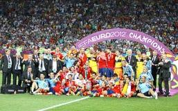 Equipe da Espanha, vencedor do competiam 2012 do EURO do UEFA Fotografia de Stock