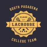 Equipe da lacrosse, crachá do vintage, emblema, projeto do t-shirt da lacrosse, cópia ilustração do vetor