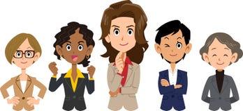 Equipe da vária parte superior do corpo racial do _das mulheres do _do negócio ilustração do vetor