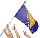 Equipe das mãos dos povos que aumentam a bandeira nacional de Bósnia e de Herzegovina, rendição 3D isolada no fundo branco Imagens de Stock