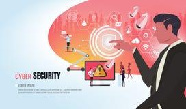 Equipe de ajuda ver2 do negócio da segurança do Cyber foto de stock royalty free