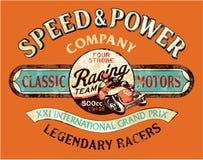 Equipe de competência da motocicleta do vintage da velocidade e do poder Imagem de Stock