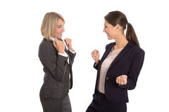 A equipe de dois isolou a mulher de negócio que comemora seu sucesso e Imagens de Stock Royalty Free