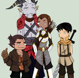 Equipe de Dragon Age II Fotografia de Stock Royalty Free