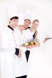 Equipe de funcionários de sorriso do restaurante Imagens de Stock Royalty Free